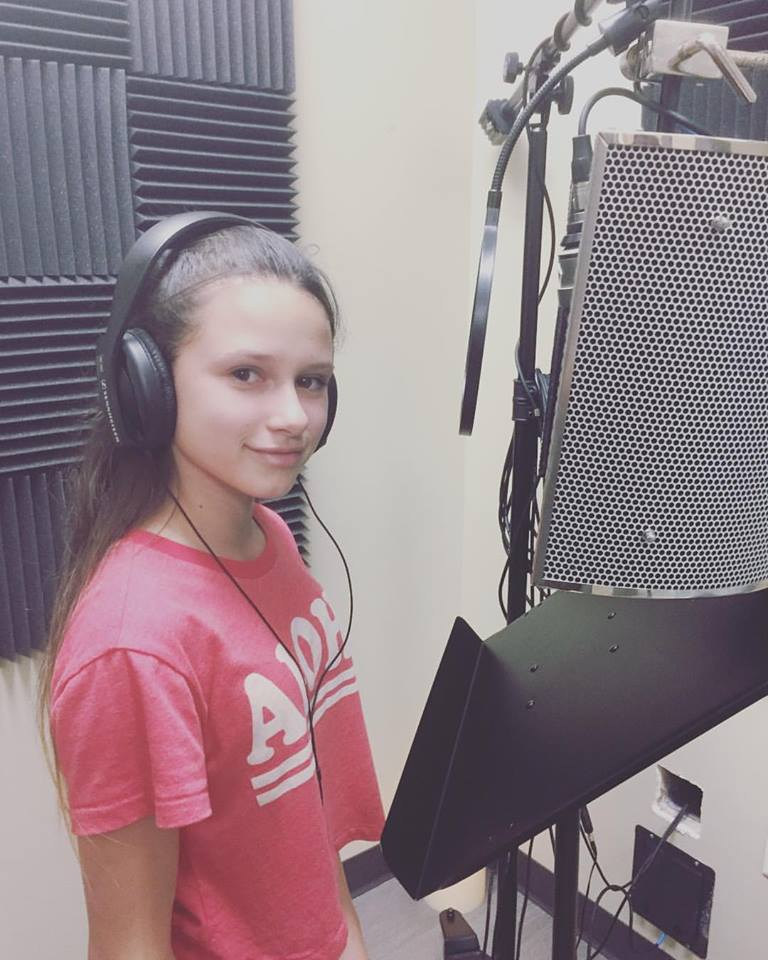 Student in the recording studio