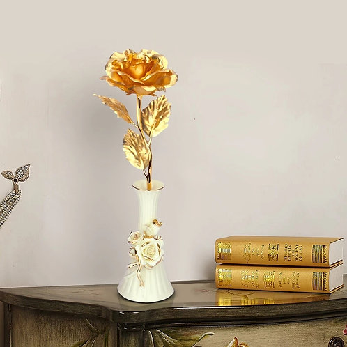 Gold Plated Rose With Vase