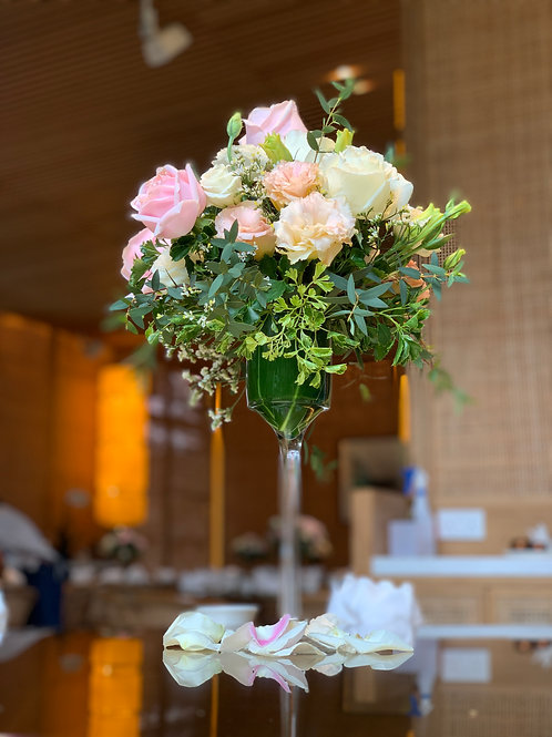 Table Floral Arrangement On Tall Glass 1