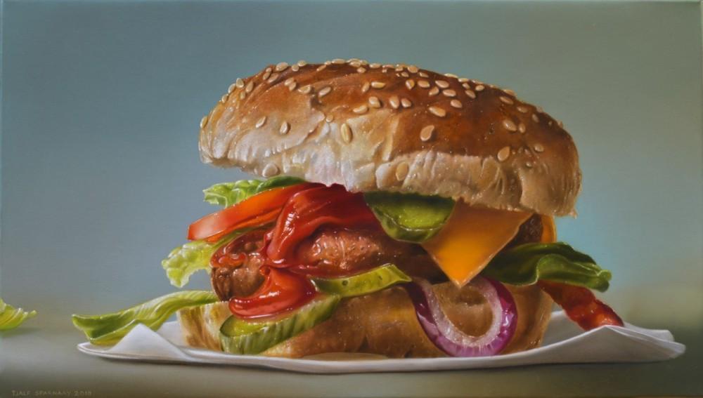 Hamburger with red onion, 2018, 40x70 cm