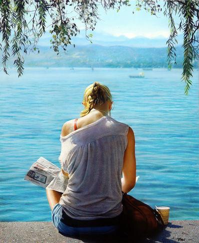 The girl on the lake
