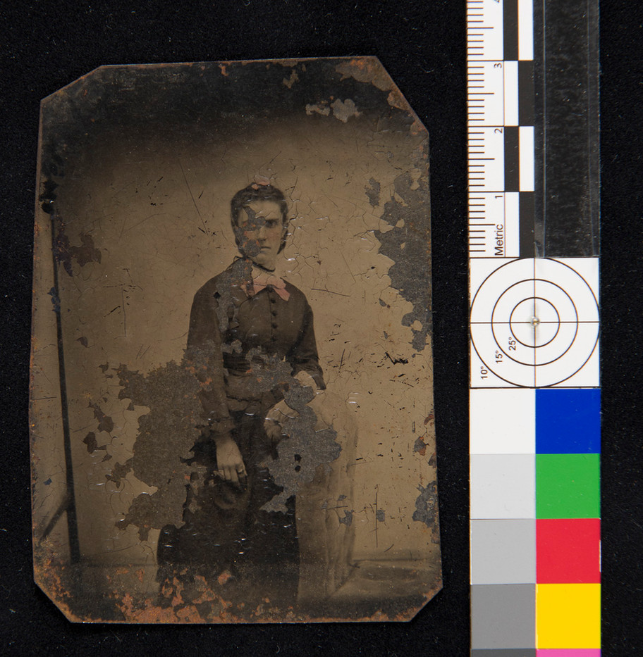 Flaking on tintype