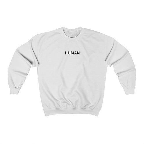 human crewneck - white