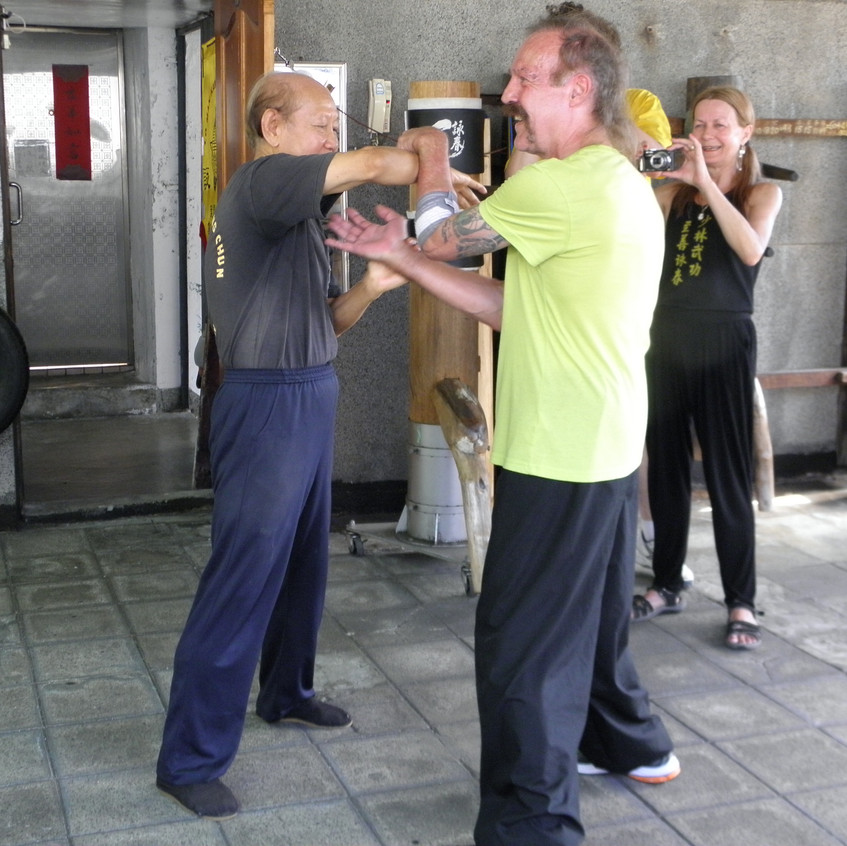 Sifu Garry doing Chi Sao with GM Lo Man Kam