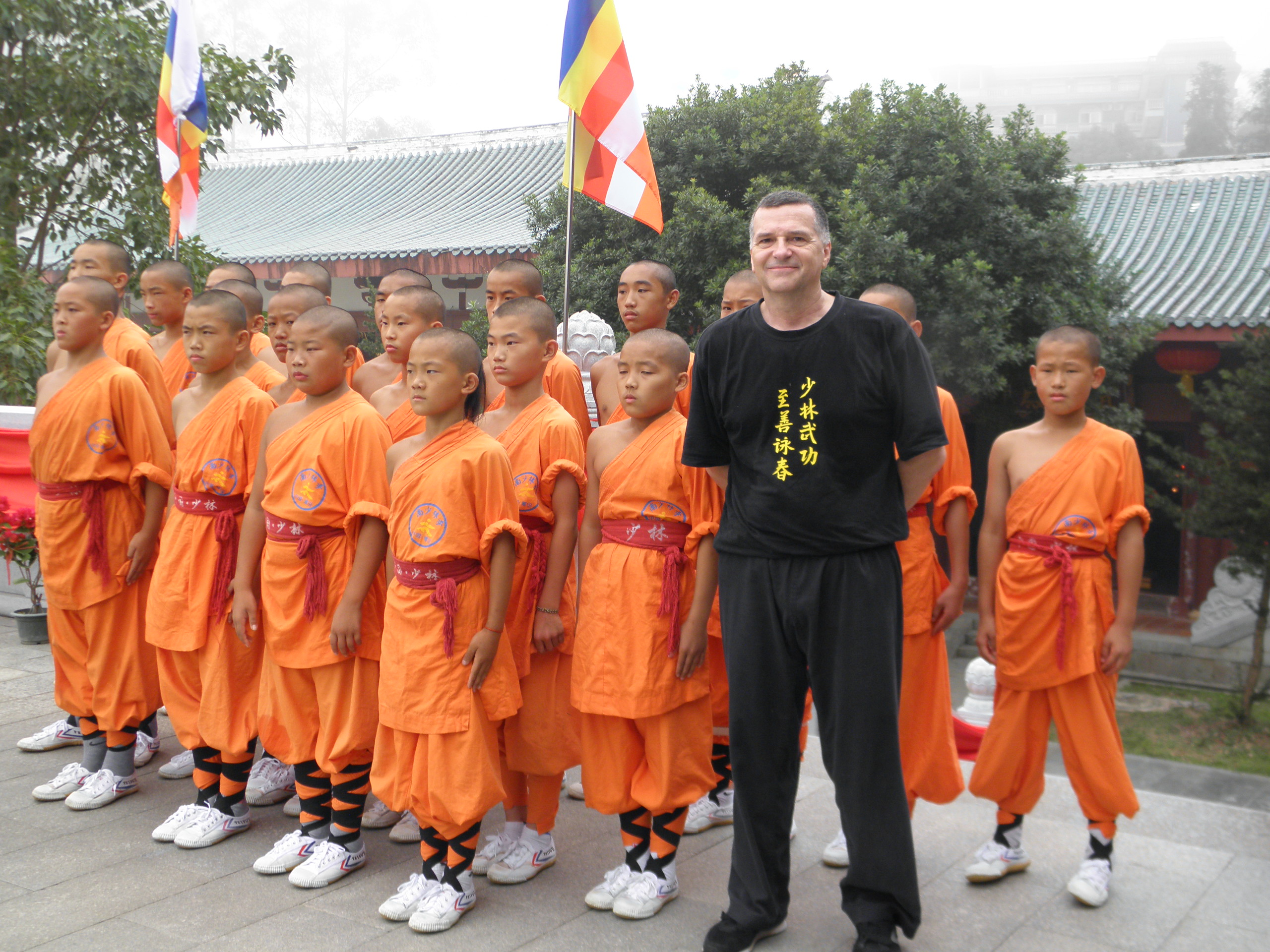 Paul with the young Shaolin monks