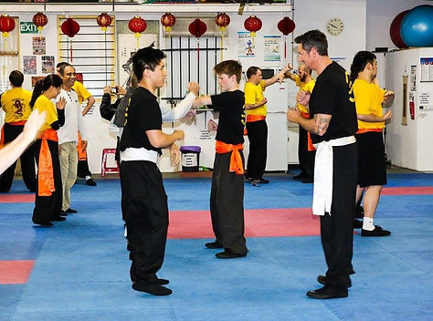 Bendigo Wing Chun Kung Fu students practise before a grading