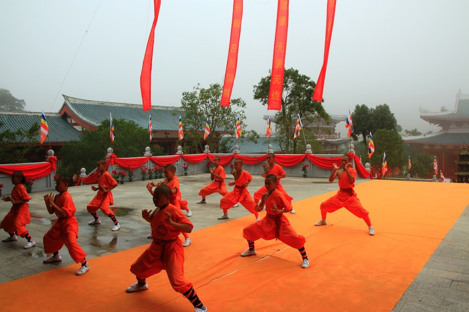 Young Shaolin monks at the Southern Shaolin Temple, Fujian province