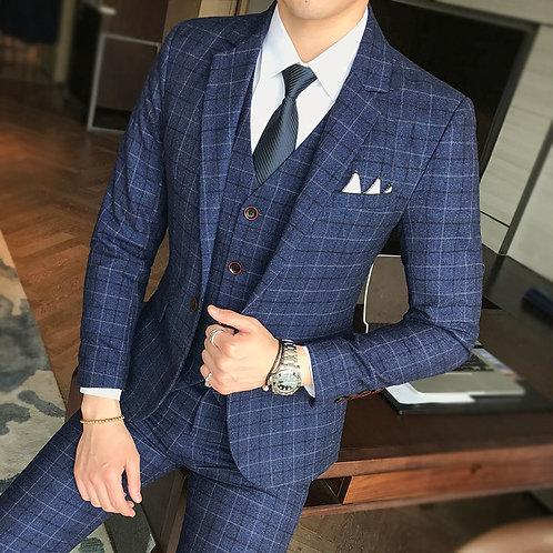 Luxury Men's Suit 3 Piece Plaid Business Casual Banquet