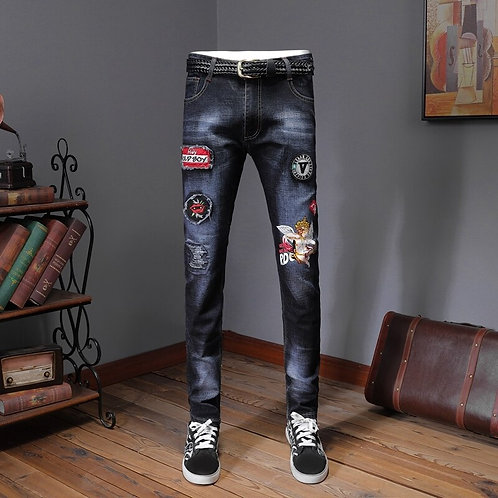 Angel Men's Badge Patches Ripped Jeans Slim Skinny Distressed Stretch