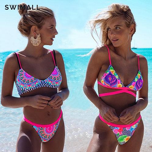 Print Swimwear Bikini Cross Bandage