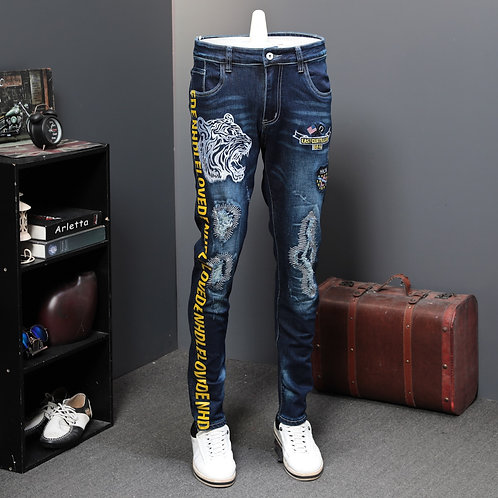 Holes Patch Jeans Male Elastic Tiger Head Leisure Embroidery Printing Tide