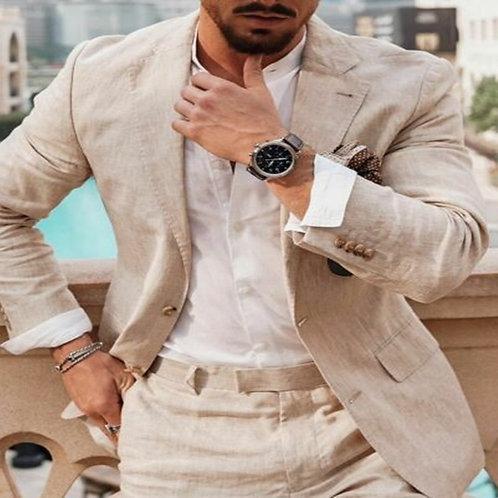 Linen Men Suits Casual Jacket Pants