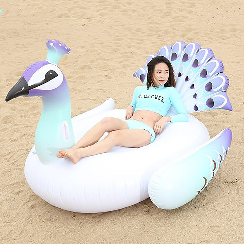 150/200cm Giant Inflatable Peacock Pool Float Swimming Ring Circle Mattress