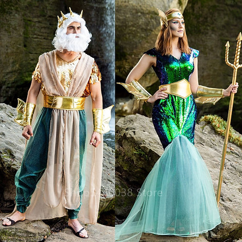 Costume for Women Men Mermaid Couple Anime Tail Fancy Dress Stage Performance
