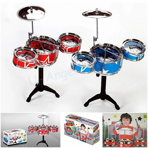 Children Toys Drum Set Boys Girls Play Music Develop Intelligence Blue and Red