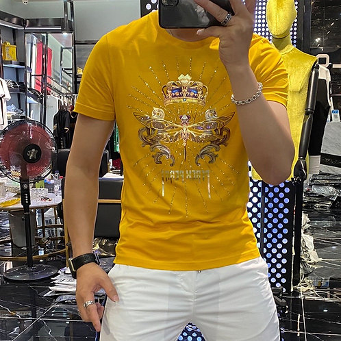 T-Shirt Men's Trend Printing Pure Cotton Round Neck Casual Slim  Top