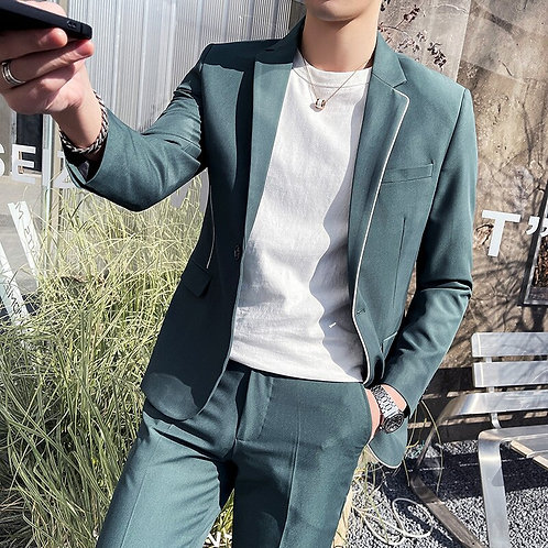 Top Quality Jacket+Pants Suit One Button Slim Fit Casual