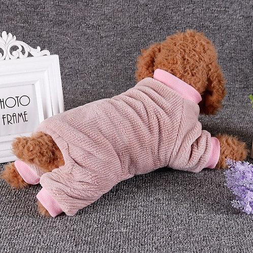 Pet Solid Color Warm Flannel Jumpsuit
