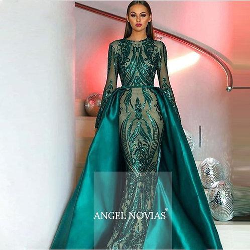 Angel Long Sleeve Sequin Evening Dress