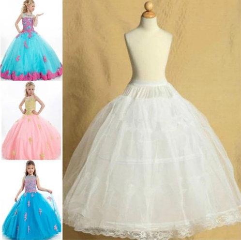 Kids Petticoats for Dress Crinoline 2 Hoop Skirt Petticoat Underskirt