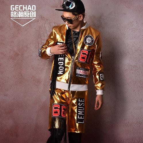 Star Club/Bar Singer DJ Costume With Gold Fabric Stitching Hip Hop