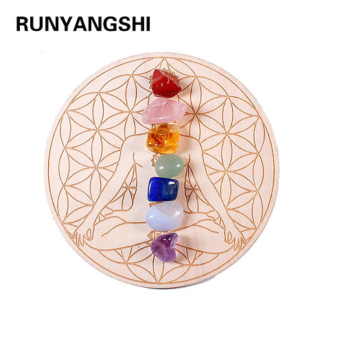 Divine Set Seven Chakra Healing Natural  Crystal Stones + Wood Plate