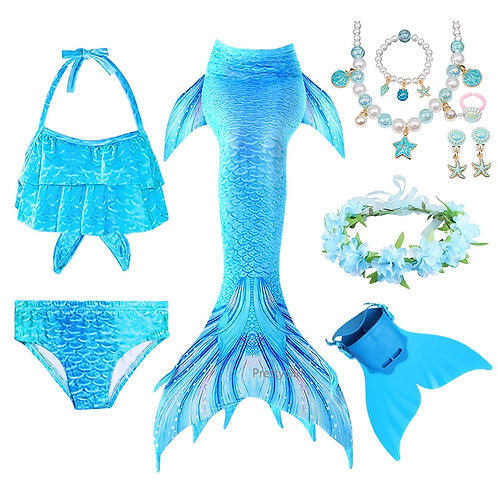 Swimming Mermaid Tail With Monofin Flipper Kids Costume And Swimsuit