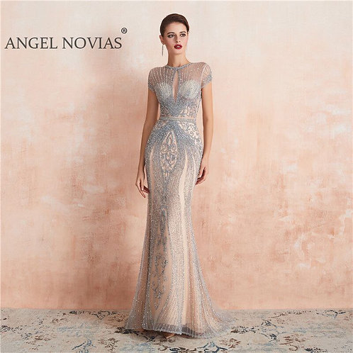Angel Cap Sleeves Luxury Evening Dress
