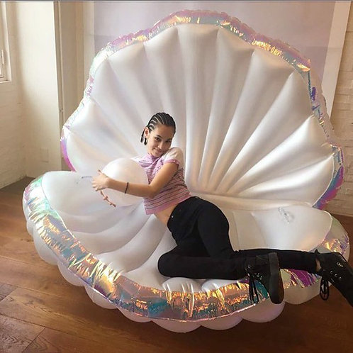 170cm Giant Inflatable Shell Pool Float Water Air Bed Lounger With Pearl