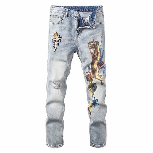 Angel Men's Crown Printed Embroidery Jeans Slim Fit Stretch