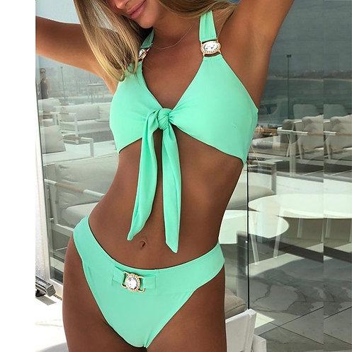 Sexy Bikini Knot Crystal Push-Up Padded Swimwear Set