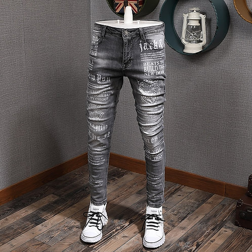 Jeans Men's Slim-Fit Stretch Tight Skinny Trendy Washed Printed
