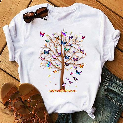 Women Butterfly Tree Harajuku Summer T-shirt