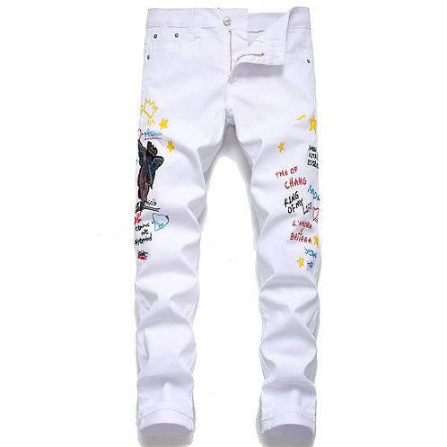 Angel Male Embroidered Letters Printed Jeans Slim Fit Stretch Denim Pencil