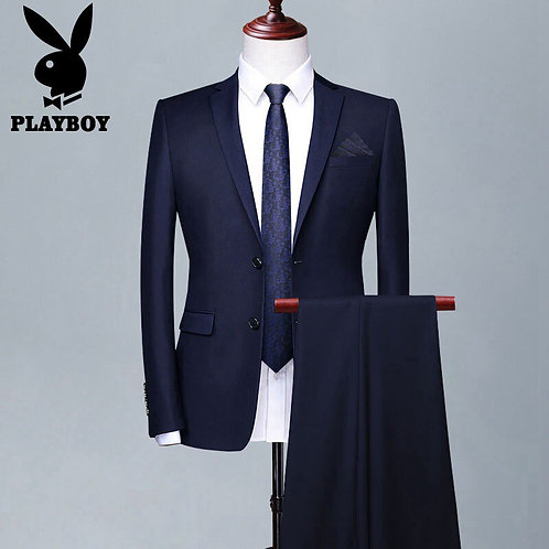 Playboy Men's Slim Suit Two Piece Set