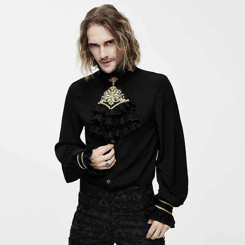 Victorian Gothic Men's Silk Tie Shirt Steampunk Tuxedo With Lace Collar
