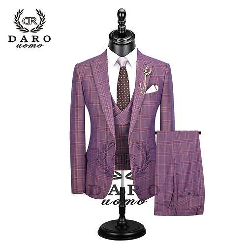 Suit 3 Pieces Plaid Slim Fit Blazer Pant and Vest