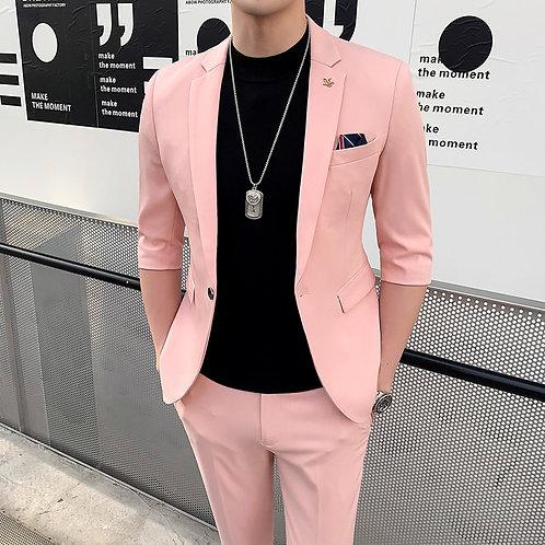 Shorts Sleeve Tuxedo Suit Slim Fit  2-Piece