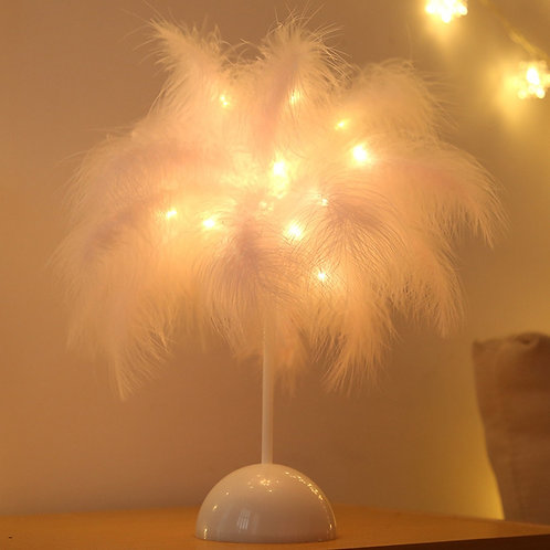 Tree Feather Decoration Light Table Lamp 4.5v Remote Lampshade Led