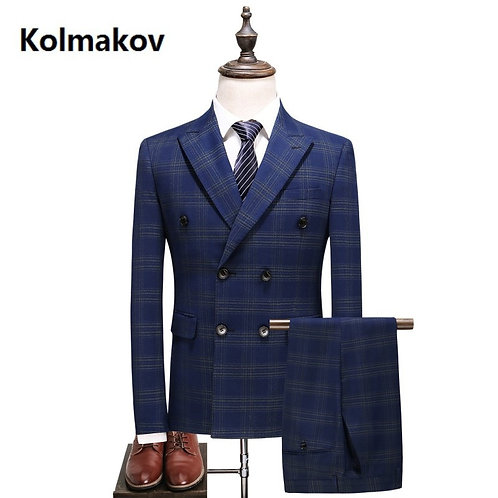 (Jacket+Vest+Pants) Mens Double Breasted Suit Slim Fit Embroider Luxury Stripe