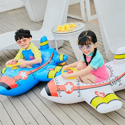 Kid Inflatable Raft Swimming Ring Aircraft Float Water Plane