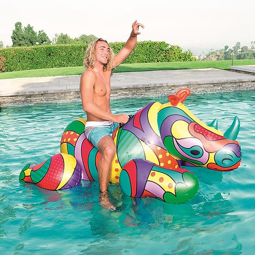 Adult Giant Inflatable Ride on Rhino Water Air Raft Bed