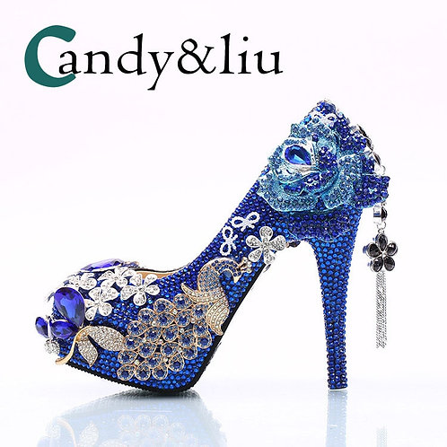 Luxury Crystal Shoes Blue Rhinestone Phoenix and Tassel Silver Flowers Pumps