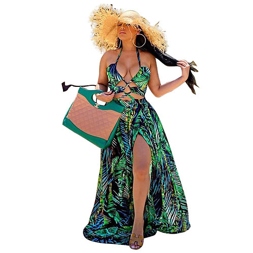 Stigende Women Bohemian Palm Leaf Maxi Dress Sexy High Split Summer Beach Halter