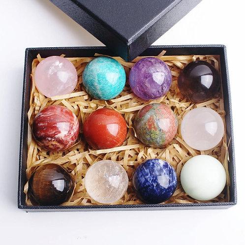 Divine 12pcs Mixed Natural Crystal Sphere Quartz Ball 7 Chakra Healing