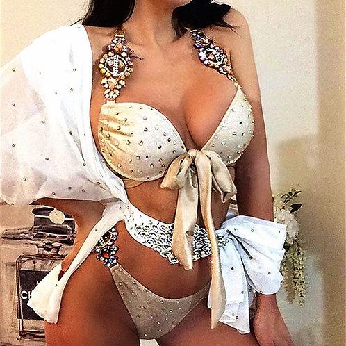 Sexy Push Up Bra Cup Bikini Crystal Diamond Swimwear Set