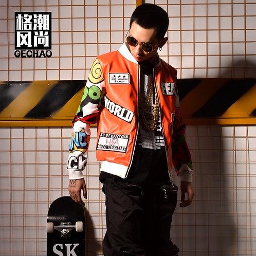 Hip Hop Splicing Graffiti Star Nightclub Bar Singer DJ Perform Costume