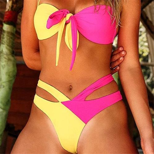Push Up Sexy Bikini Bandage Neon Swimwear