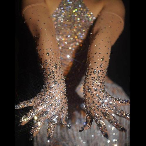 Rhinestones Elastic Mesh Gloves Silver Crystals Stones Long Mittens Bar Stage
