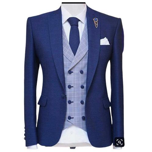 3 Piece Suit Peaked Lapel Groom Tuxedo Male Set Jacket Plaid Vest With Pants